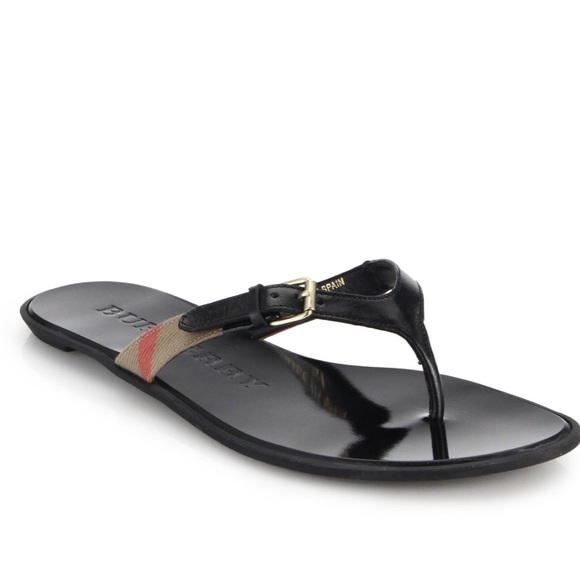 90ec448c60d155 New Burberry Flat Thong Flip Flop Sandals